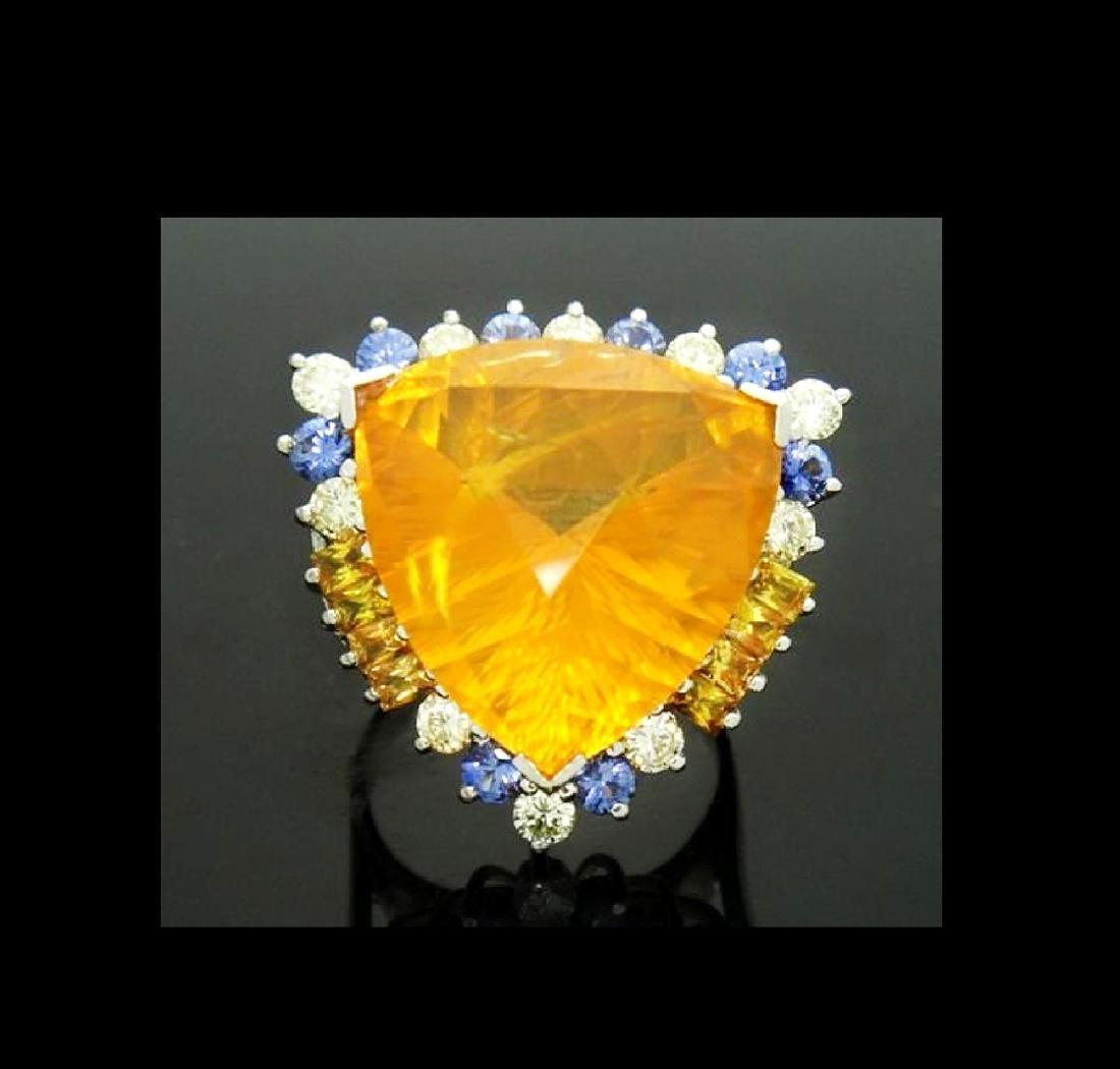 14K NATURAL OPAL 3.5CT DIAMOND TANZANITE CITRINE RING