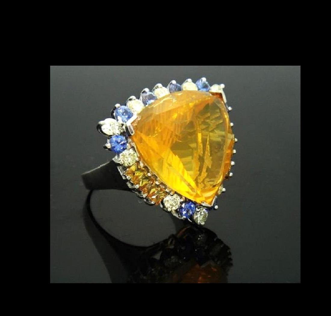14K NATURAL OPAL 3.5CT DIAMOND TANZANITE CITRINE RING - 2