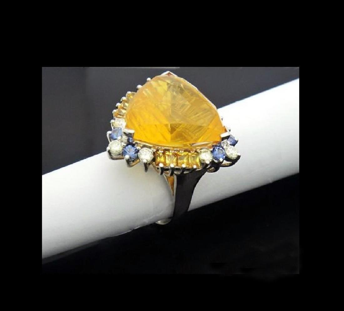 14K NATURAL OPAL 3.5CT DIAMOND TANZANITE CITRINE RING - 4