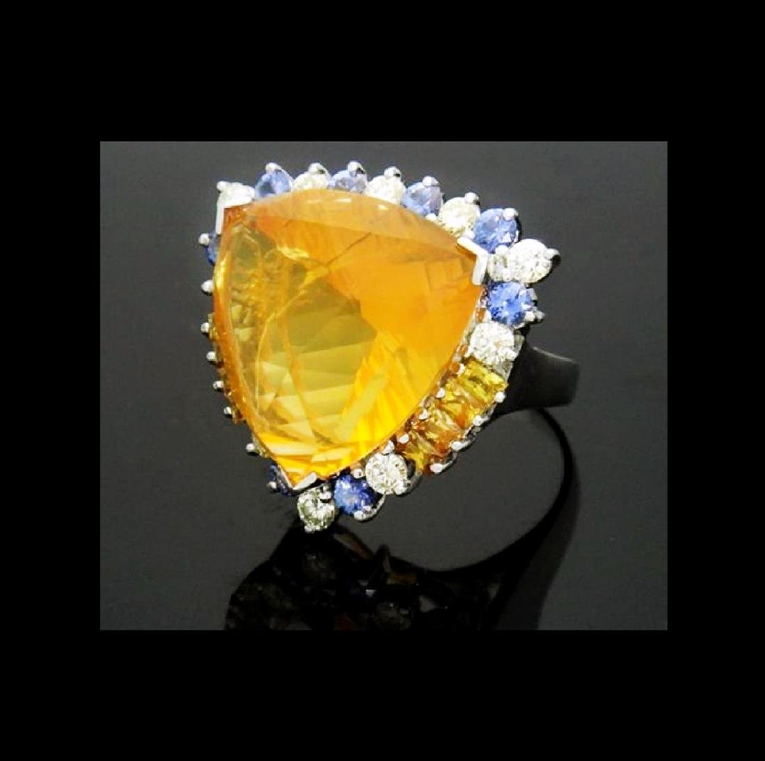 14K NATURAL OPAL 3.5CT DIAMOND TANZANITE CITRINE RING - 6