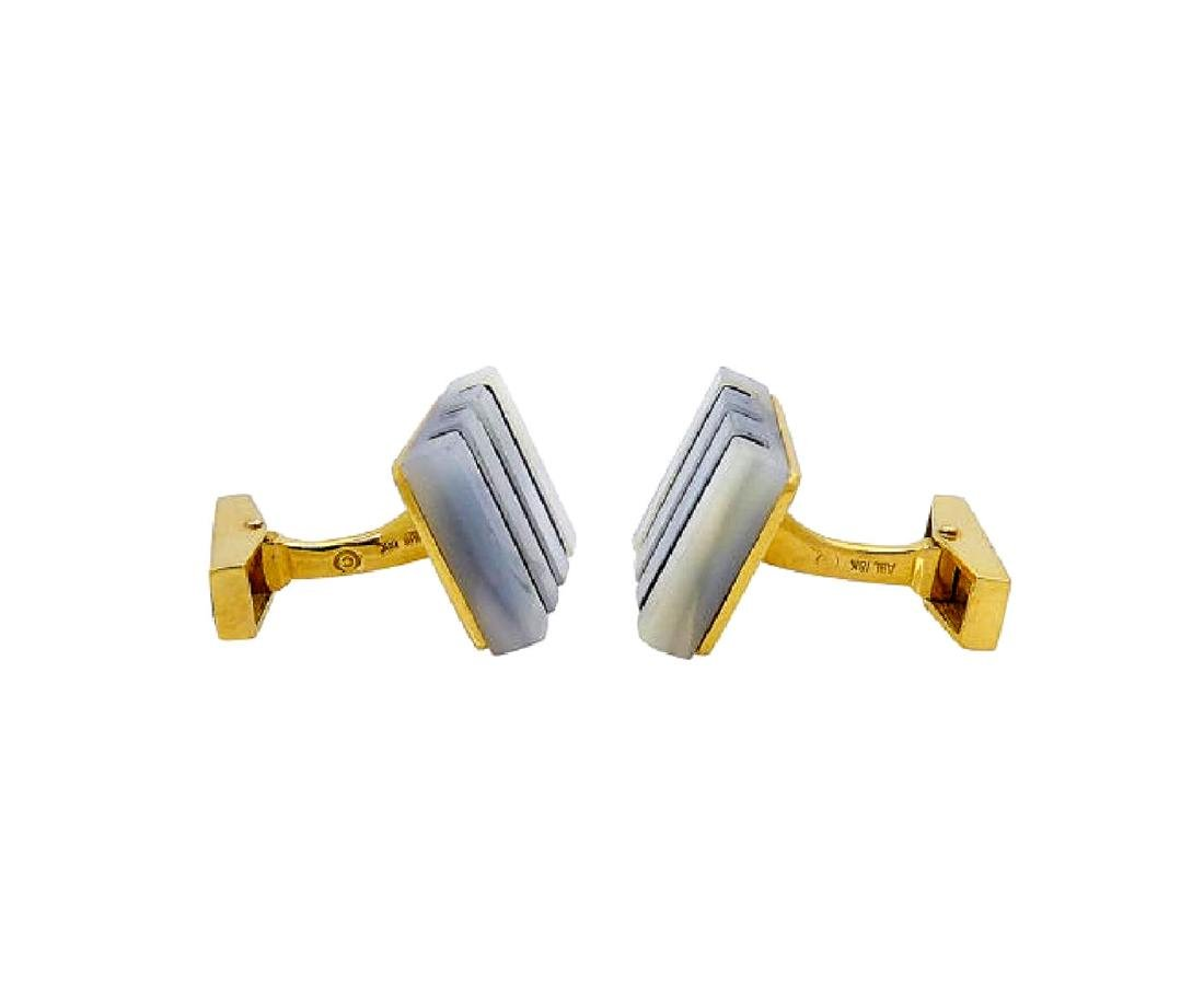 18k Yellow Gold Mother Of Pearl & Black Onyx Cufflinks - 2
