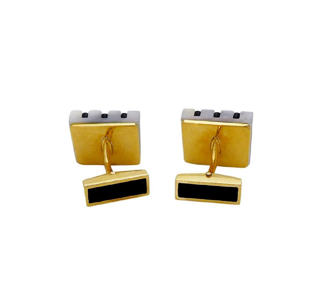 18k Yellow Gold Mother Of Pearl & Black Onyx Cufflinks - 3