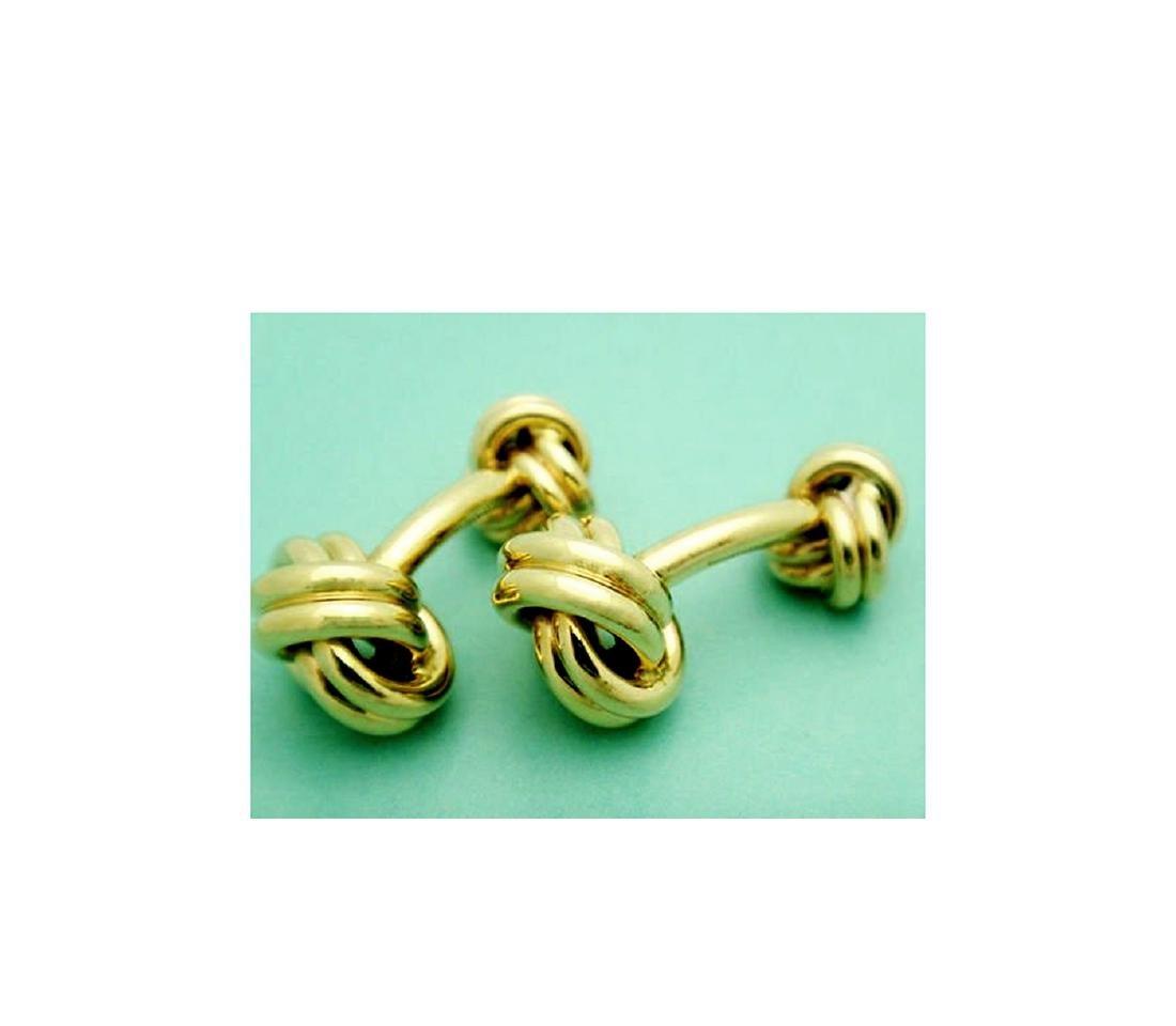 Tiffany & Co. 14k (585) Knot Cuff Links - 4