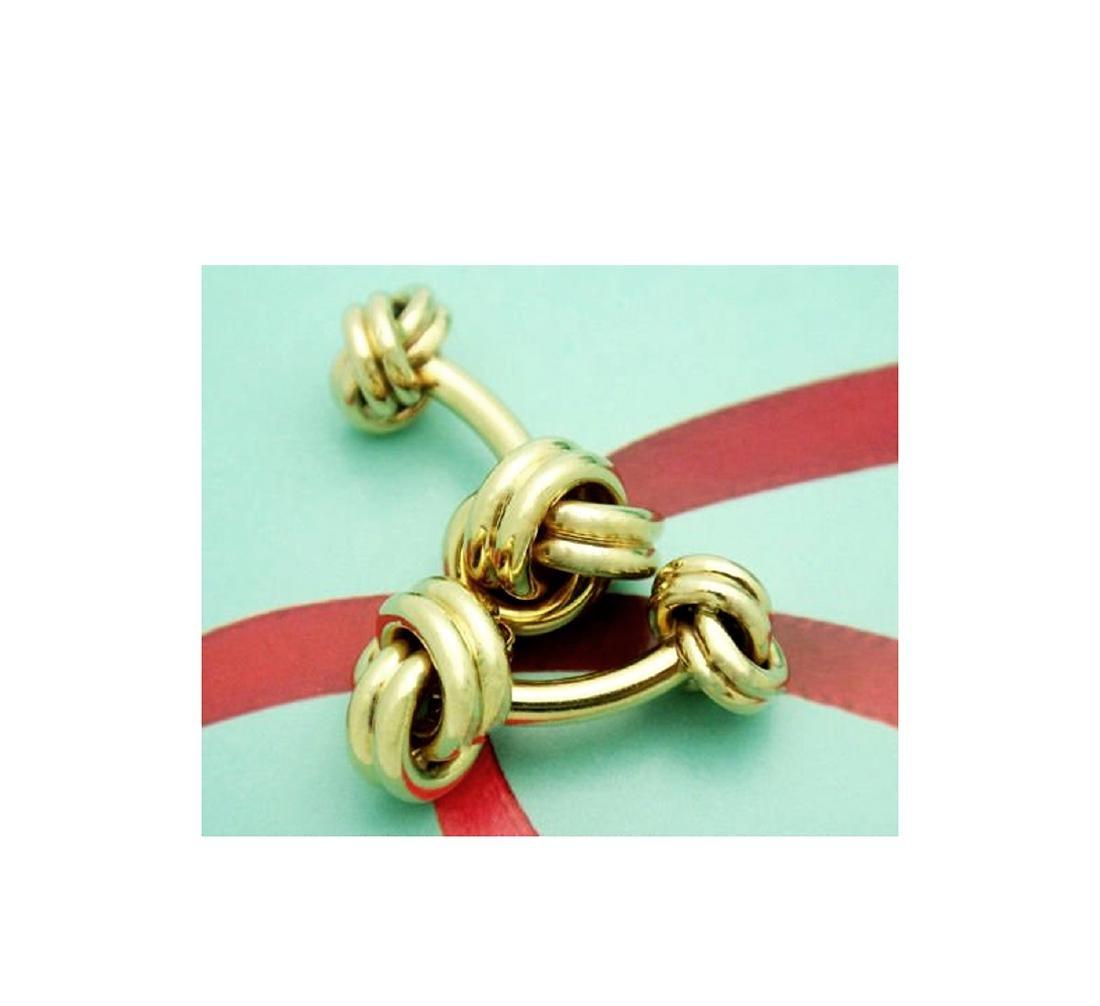 Tiffany & Co. 14k (585) Knot Cuff Links - 5