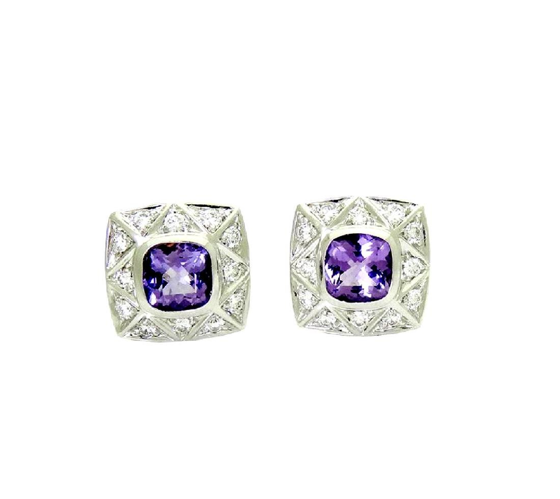 Lovely Pr 18K White Gold Amethyst and Diamond Earrings