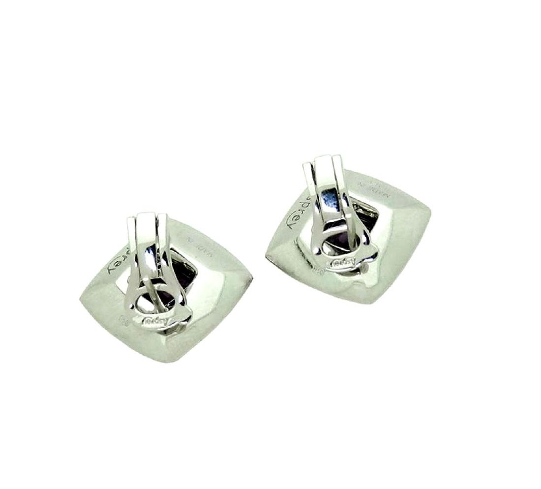 Lovely Pr 18K White Gold Amethyst and Diamond Earrings - 2