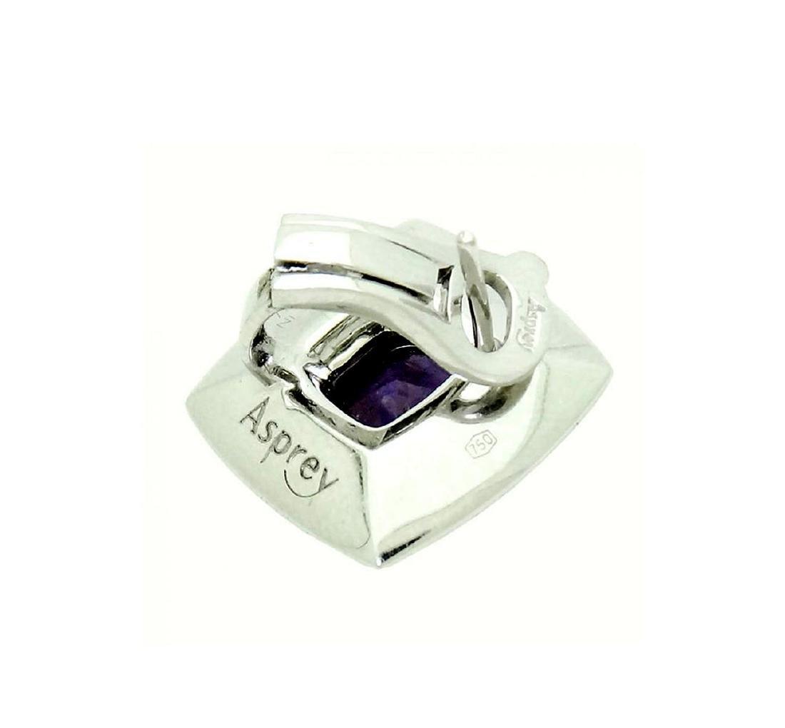 Lovely Pr 18K White Gold Amethyst and Diamond Earrings - 3