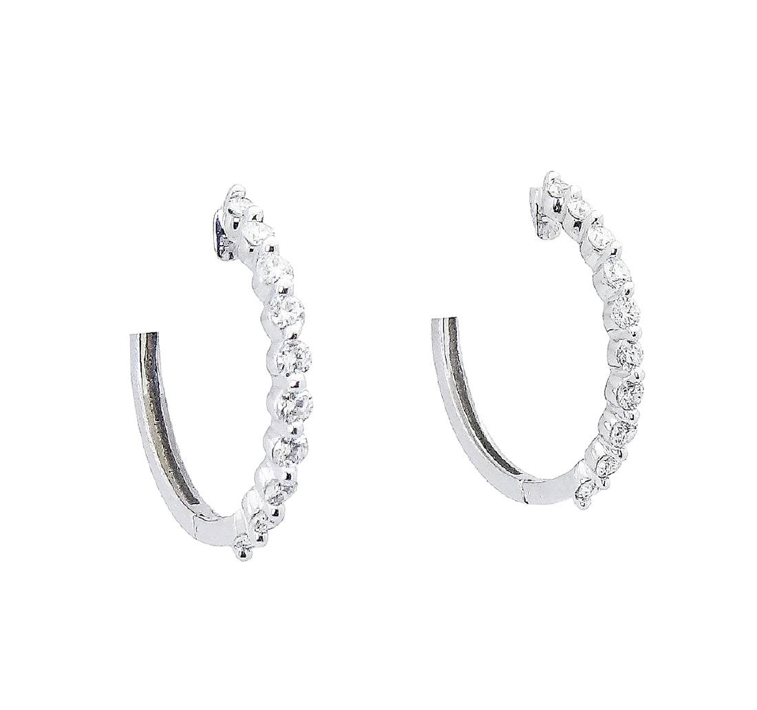 14k Gold 1.00 TCW Shared Prong Diamond Hoop Earrings