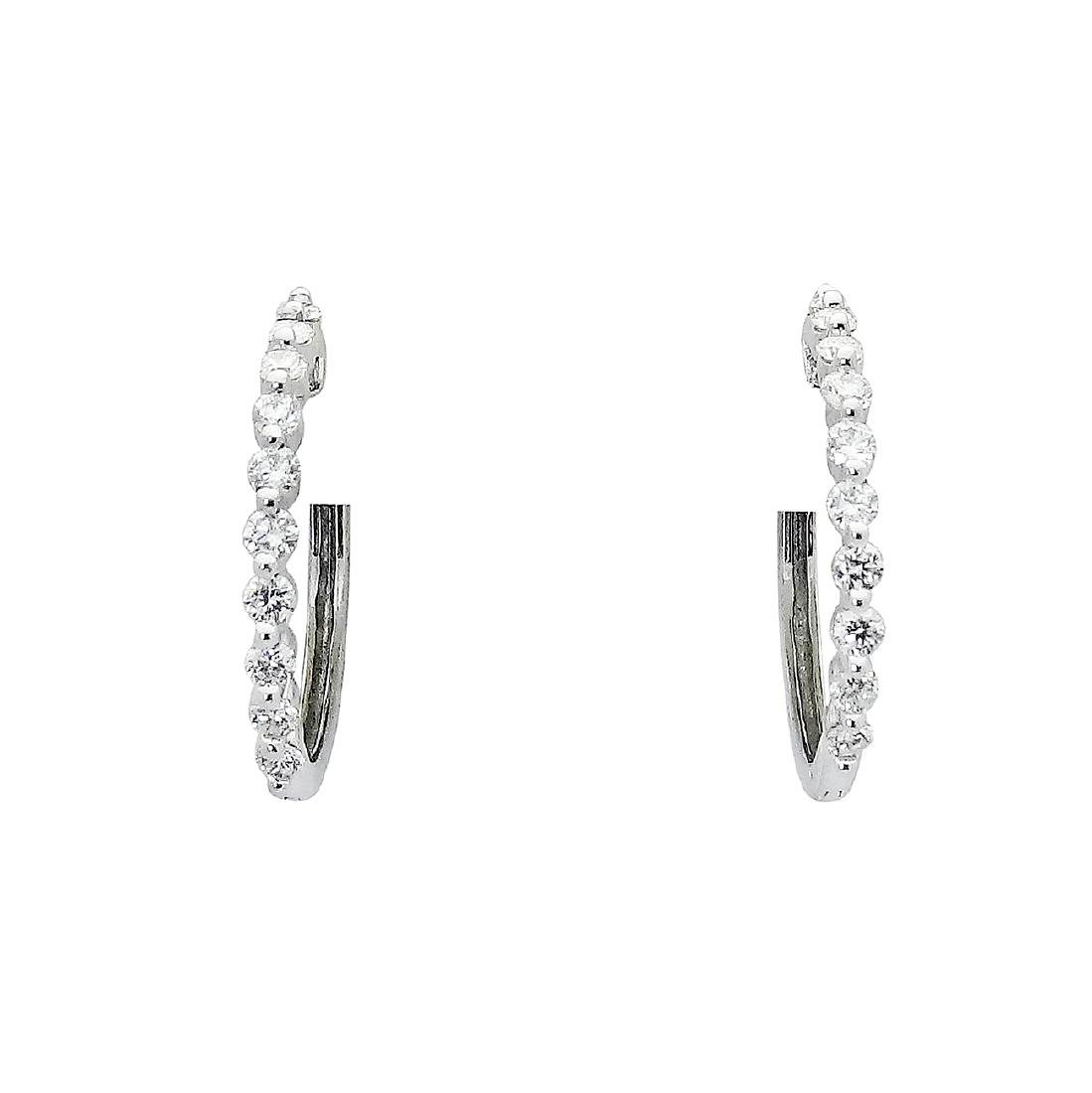 14k Gold 1.00 TCW Shared Prong Diamond Hoop Earrings - 2