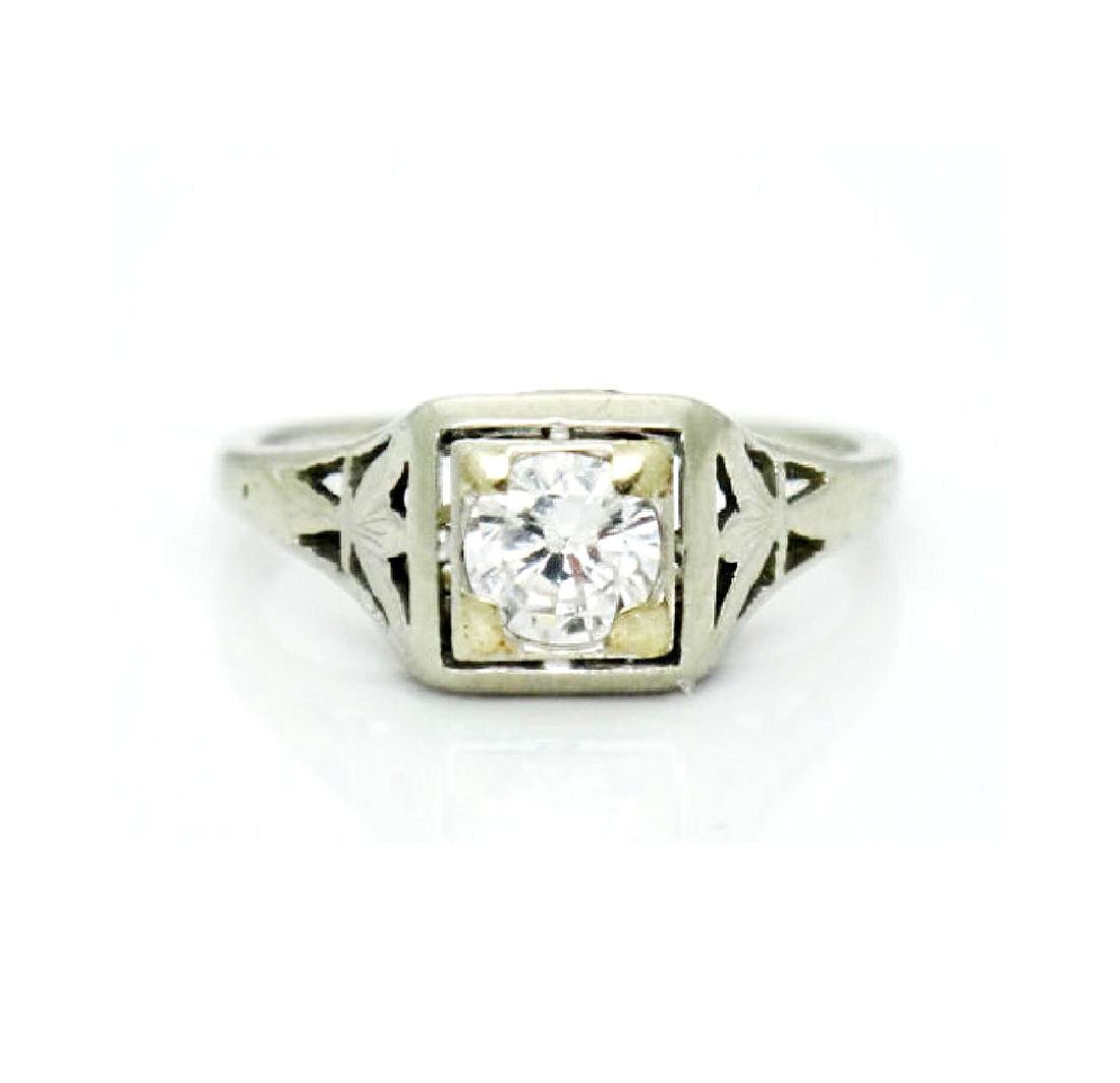 Antique Estate 18k Gold 0.50CT VS2 F Diamond Ring
