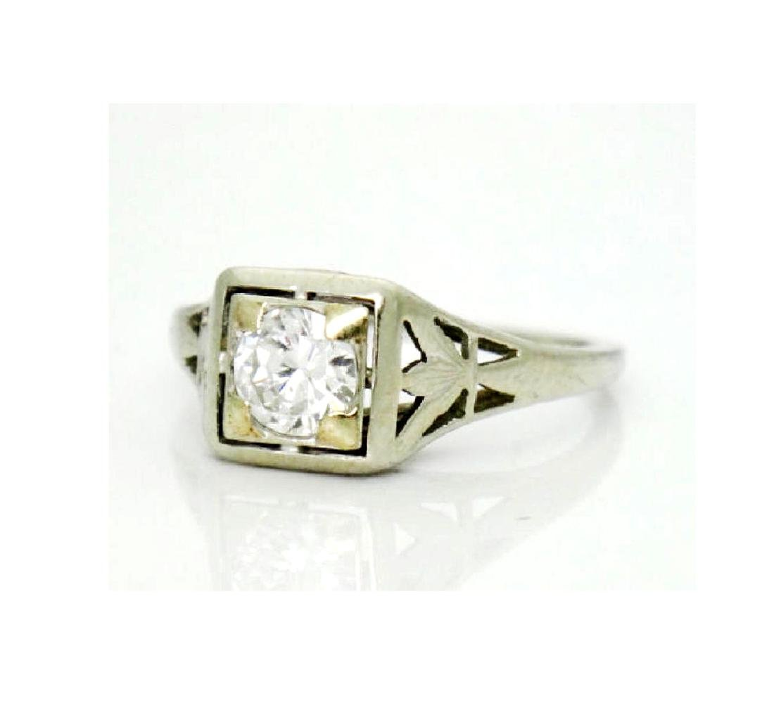 Antique Estate 18k Gold 0.50CT VS2 F Diamond Ring - 4