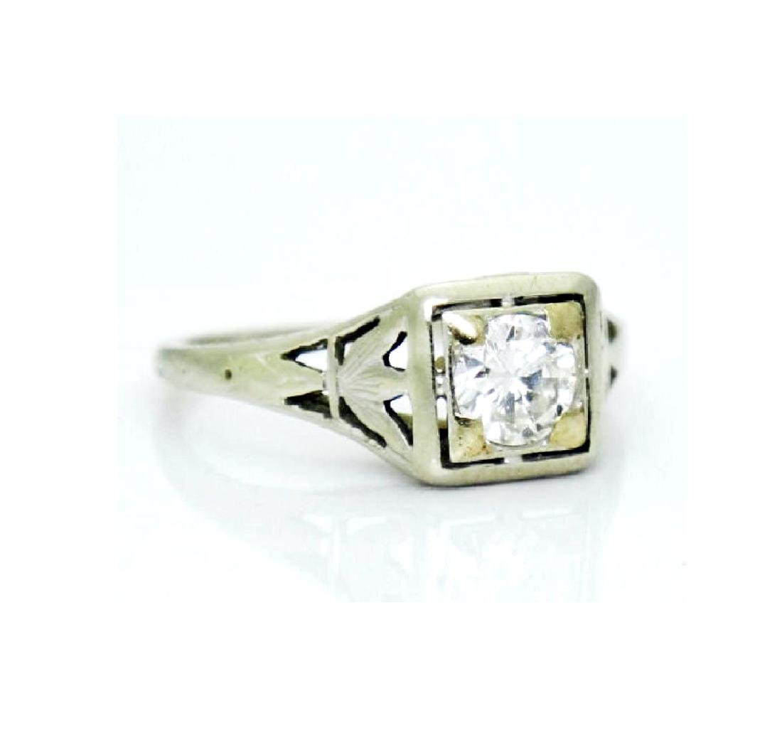 Antique Estate 18k Gold 0.50CT VS2 F Diamond Ring - 5