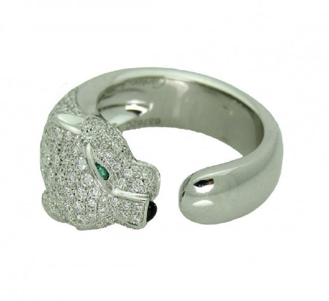 Cartier Panthere 18k Gold Diamond Emerald Onyx Ring - 2