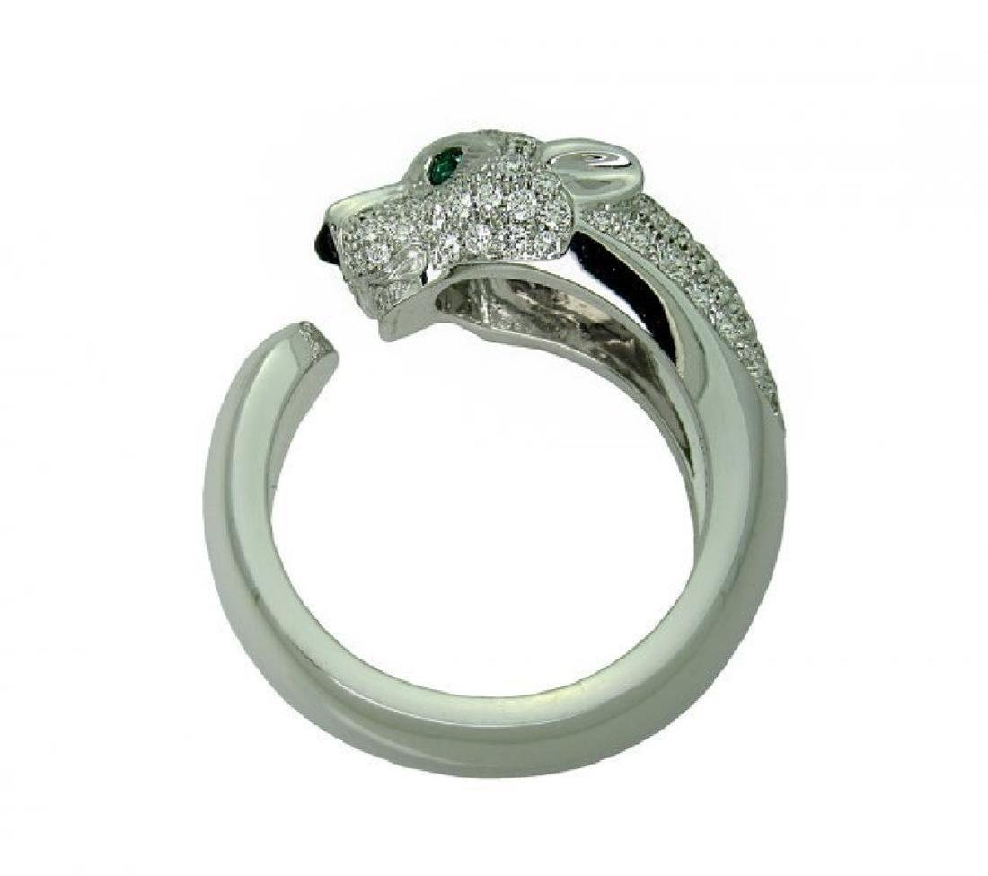 Cartier Panthere 18k Gold Diamond Emerald Onyx Ring - 4