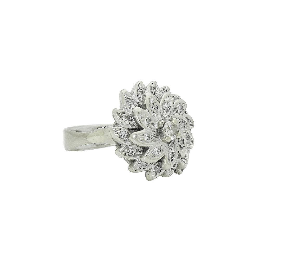 14K White Gold Diamond Flower Cocktail Ring