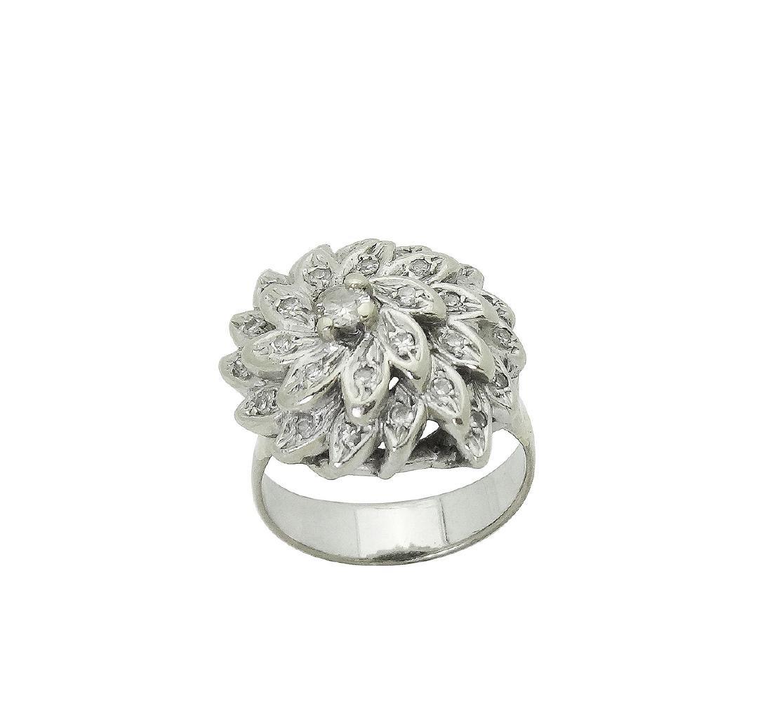14K White Gold Diamond Flower Cocktail Ring - 2