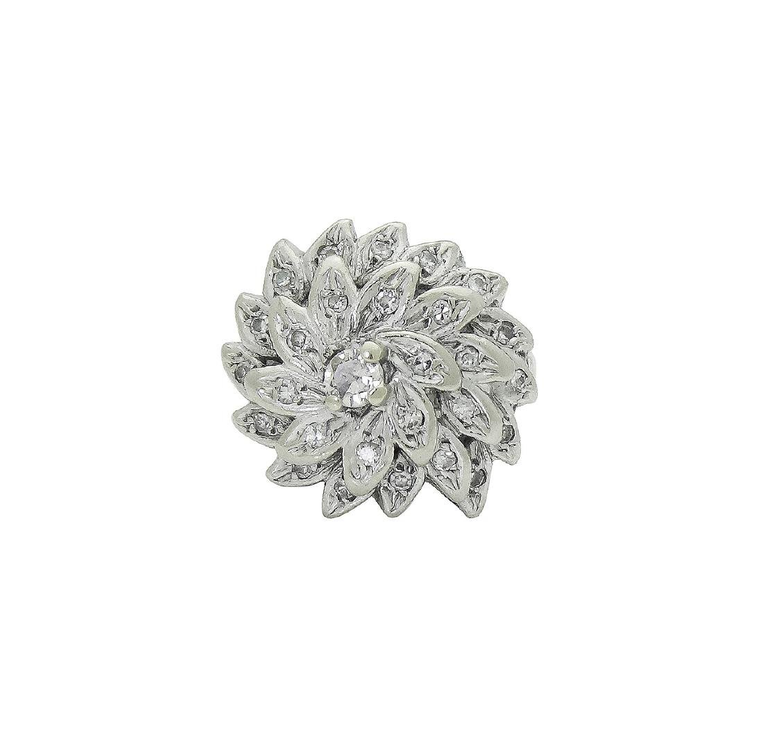 14K White Gold Diamond Flower Cocktail Ring - 3