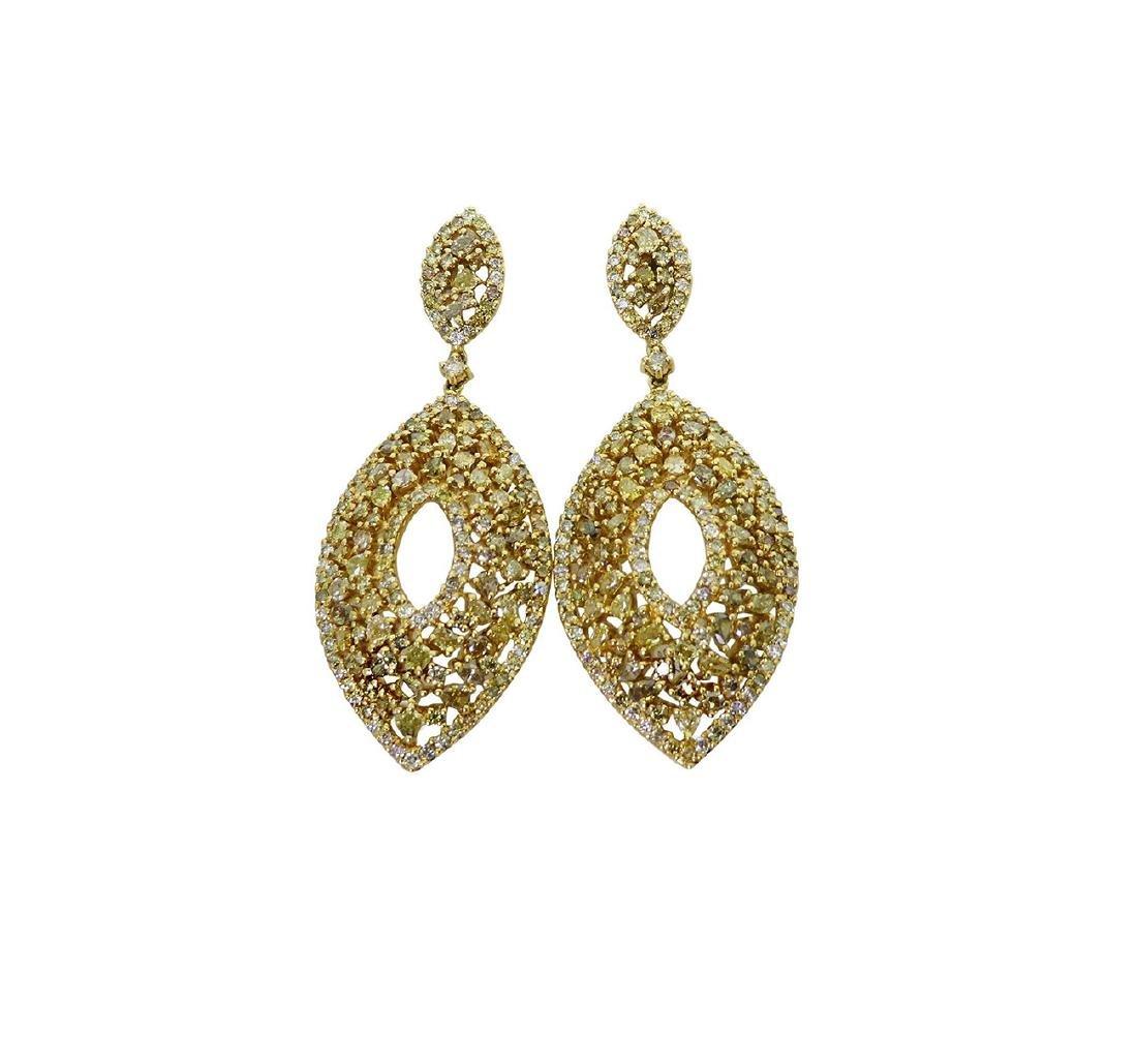 18k 12.14 TCW Natural Color Diamond Drop Earrings