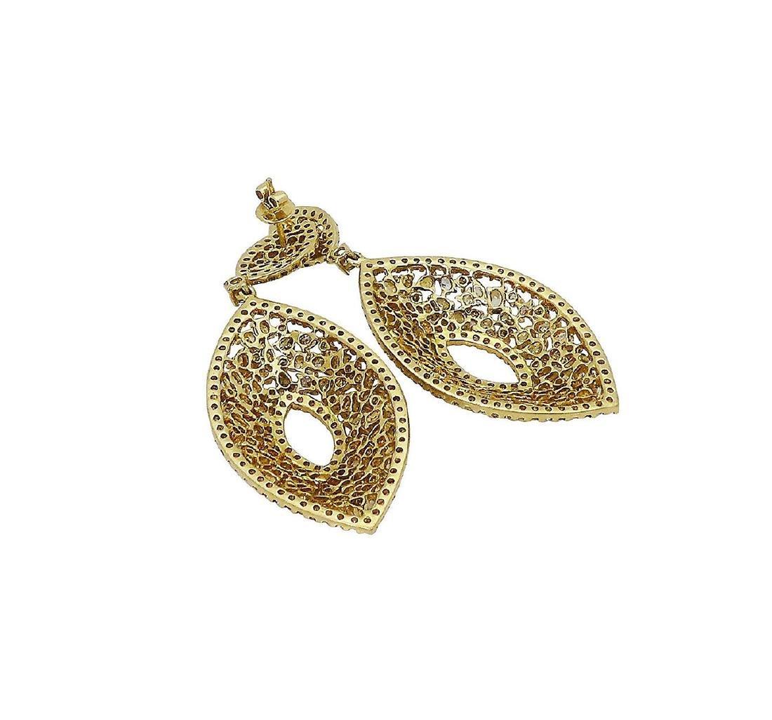 18k 12.14 TCW Natural Color Diamond Drop Earrings - 2