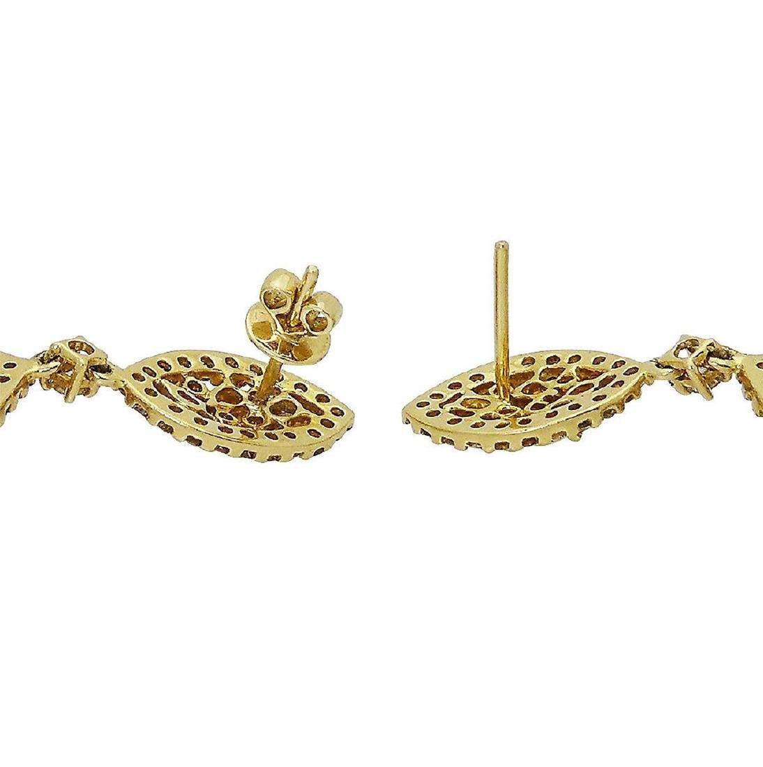 18k 12.14 TCW Natural Color Diamond Drop Earrings - 3