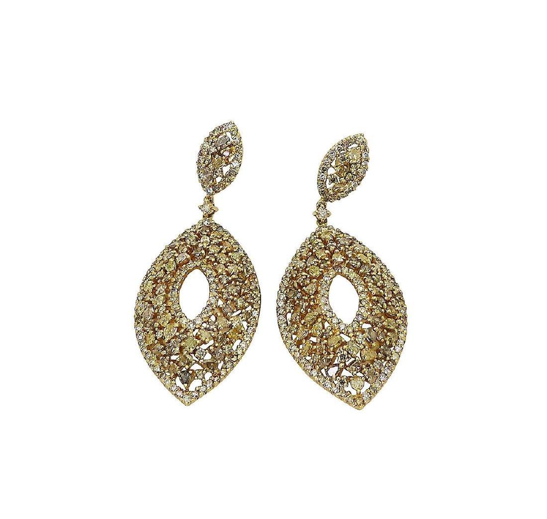 18k 12.14 TCW Natural Color Diamond Drop Earrings - 4