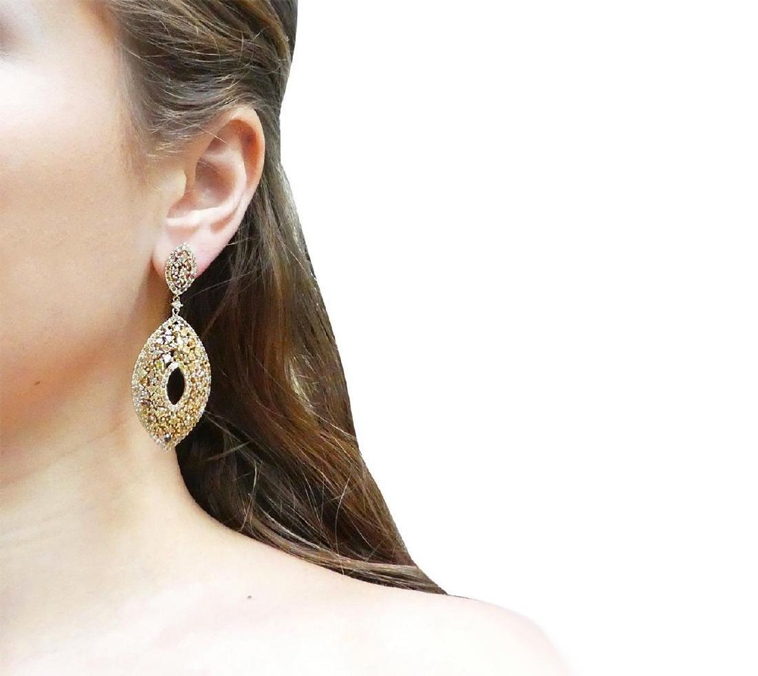 18k 12.14 TCW Natural Color Diamond Drop Earrings - 5