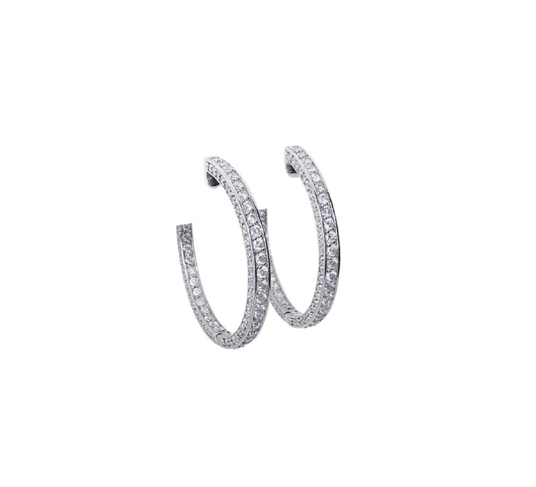 14k Gold 3.75TCW Inside Out Diamond Round Hoop Earrings