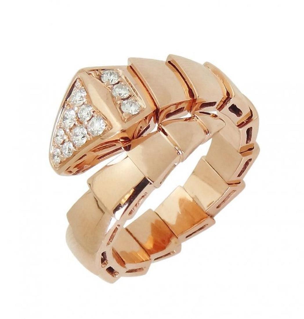 Bulgari 18k Rose Gold & Pave Diamond Serpenti Ring 53