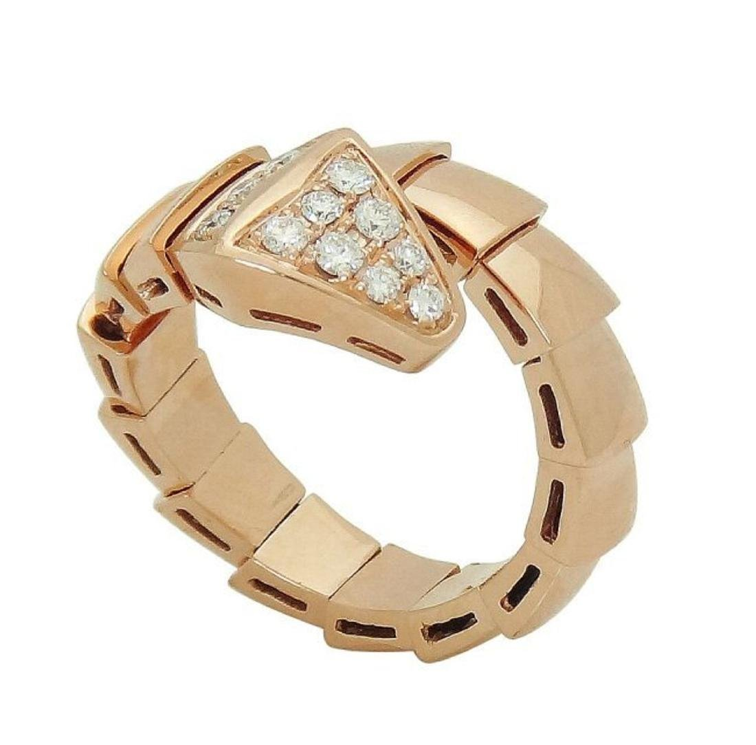 Bulgari 18k Rose Gold & Pave Diamond Serpenti Ring 53 - 2
