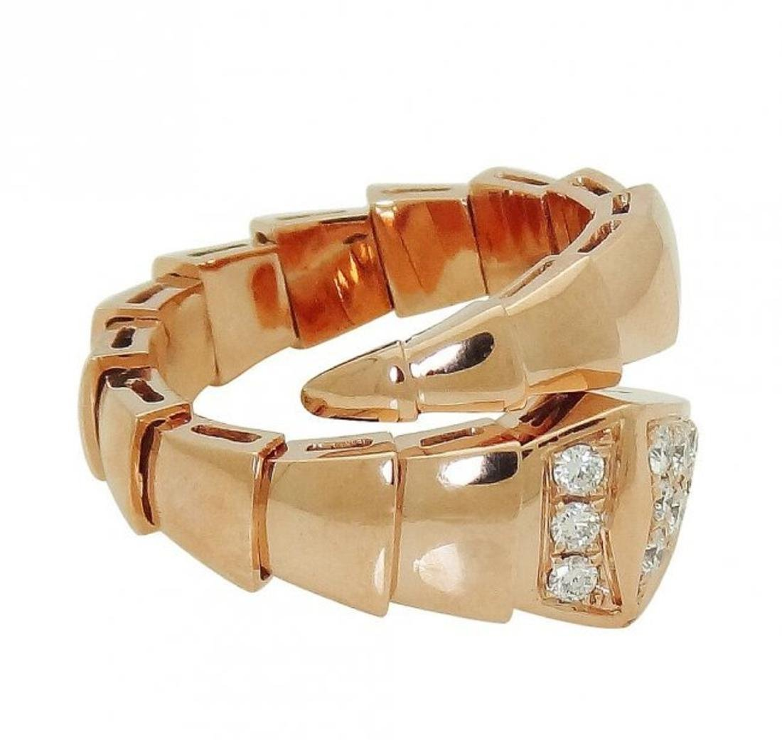 Bulgari 18k Rose Gold & Pave Diamond Serpenti Ring 53 - 3