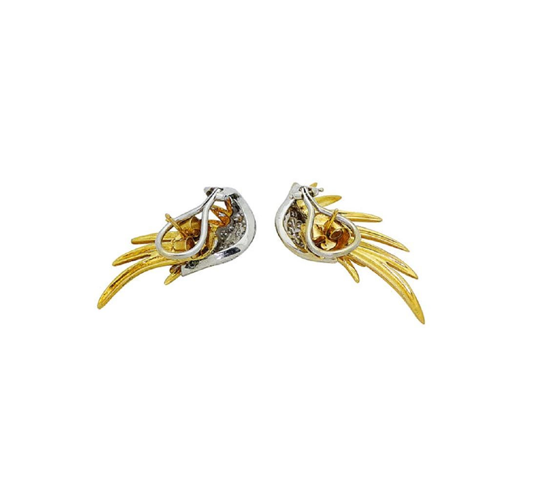 Plat & 18k Gold 2.5 TCW Brilliant Diamond Wing Earrings - 3