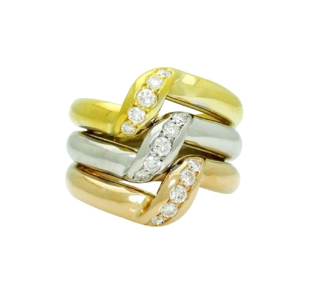Estate Cartier Tri Color 18k Gold 0.45 Carats TCW VS/F