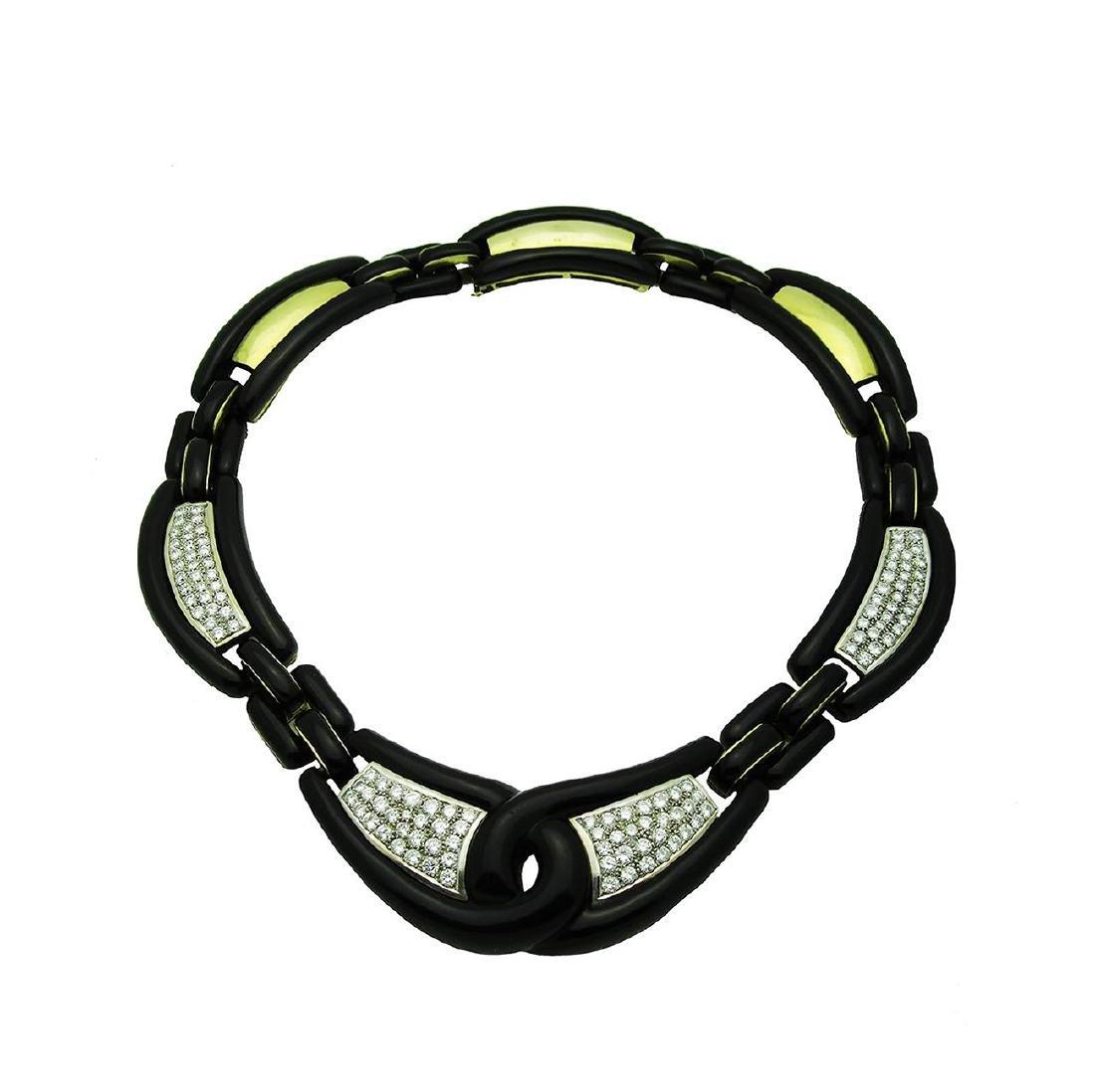 David Webb 10TCW Diamond 18K Gold Black Onyx Necklace