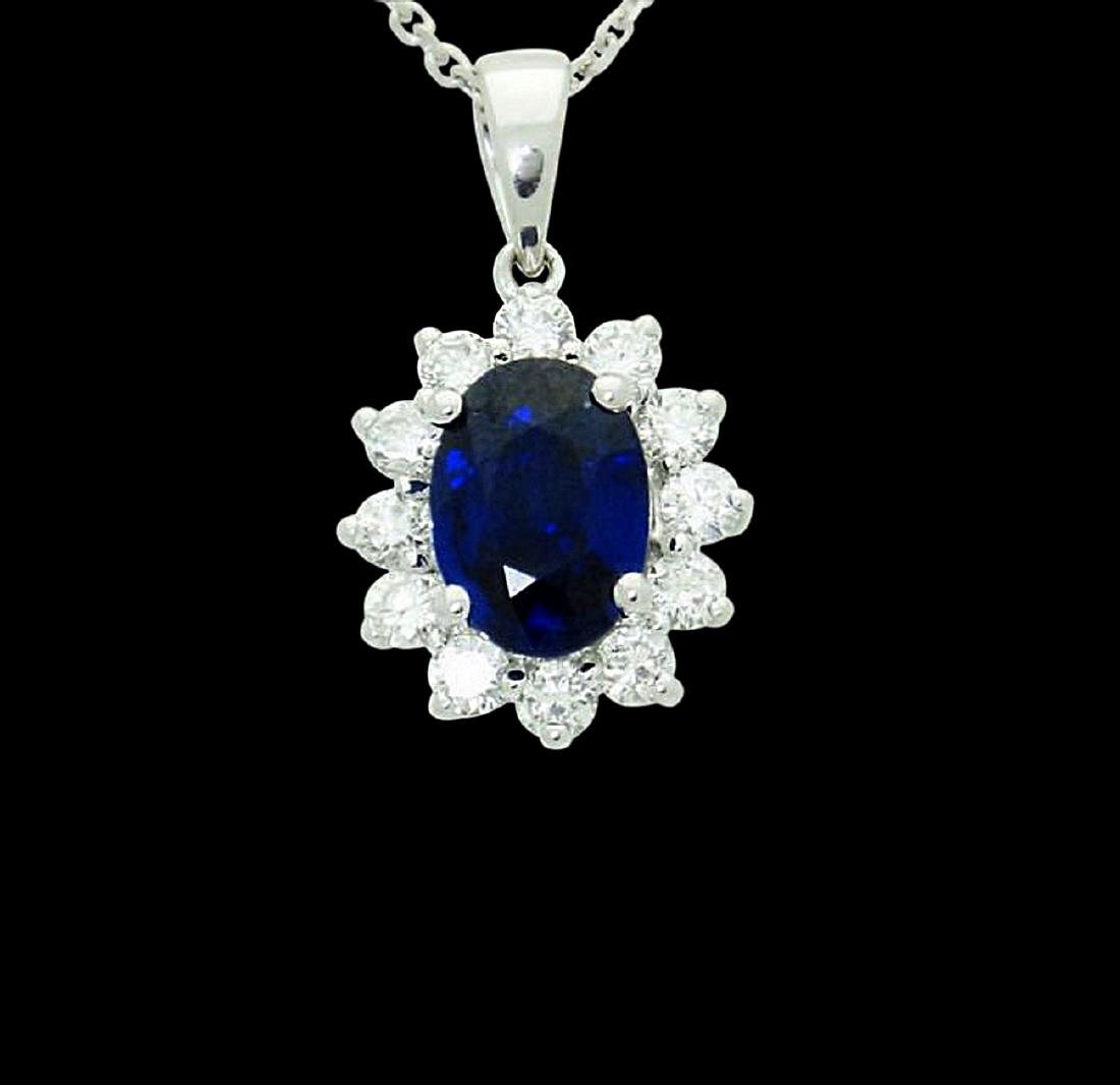14k 2.00 Ct TCW Natural Blue Sapphire VS G Pendant