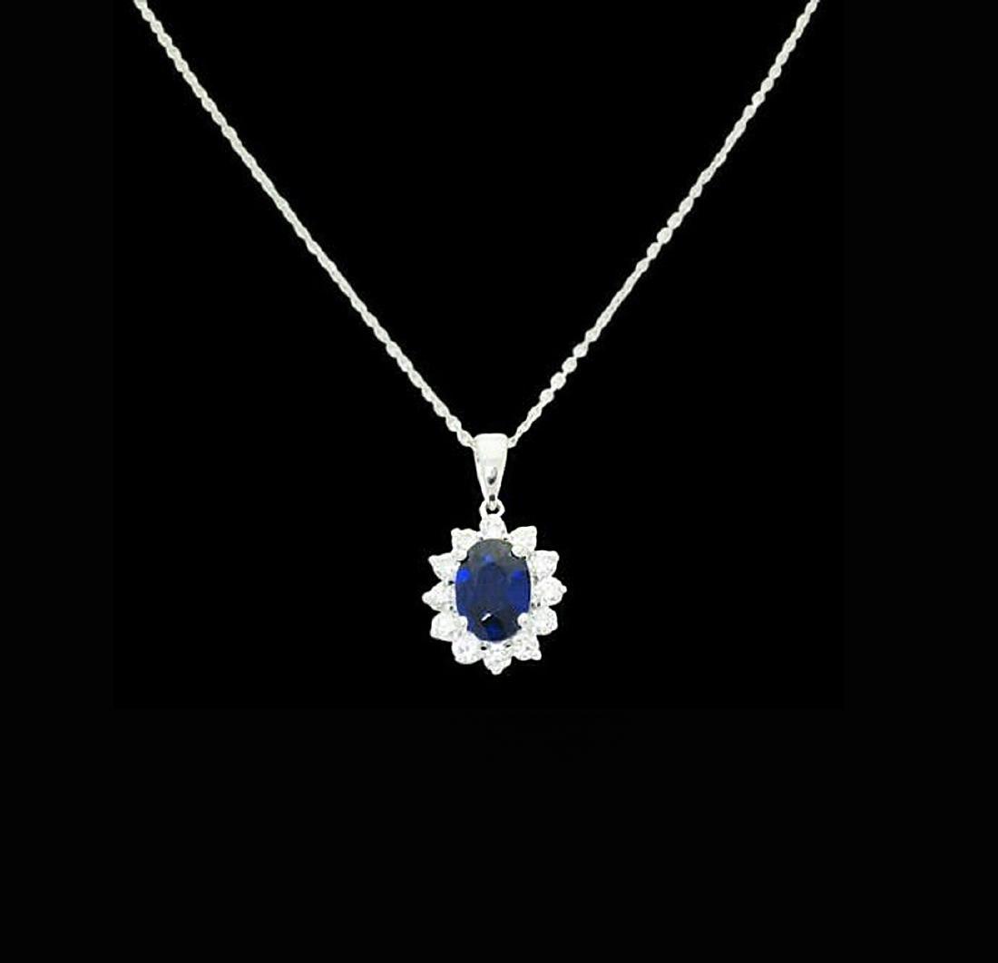 14k 2.00 Ct TCW Natural Blue Sapphire VS G Pendant - 2