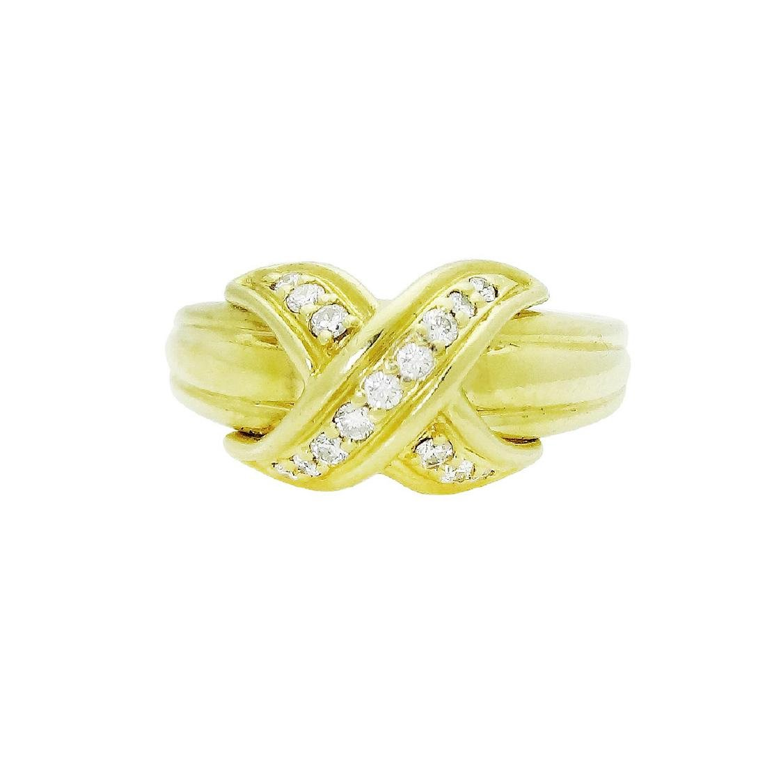 Tiffany & Co. 18K Yellow Gold Signature X Diamond Ring