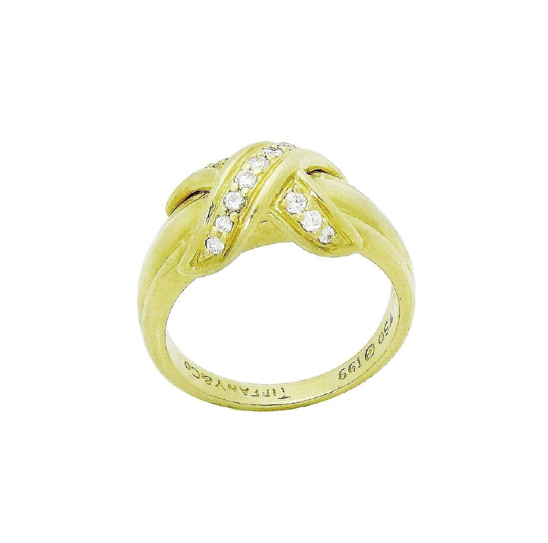 Tiffany & Co. 18K Yellow Gold Signature X Diamond Ring - 4