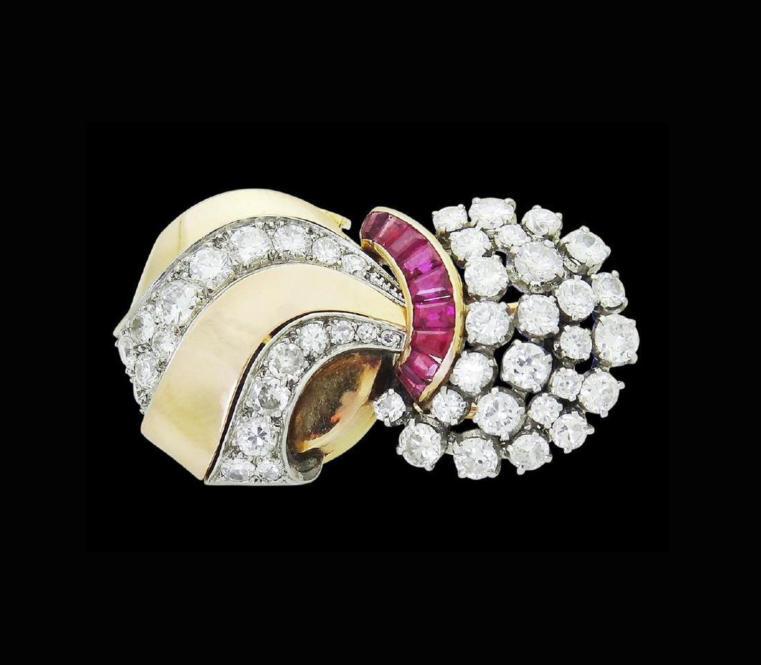 Estate Rare UTI 6.00 TCW Diamond & Ruby Brooch Pendant