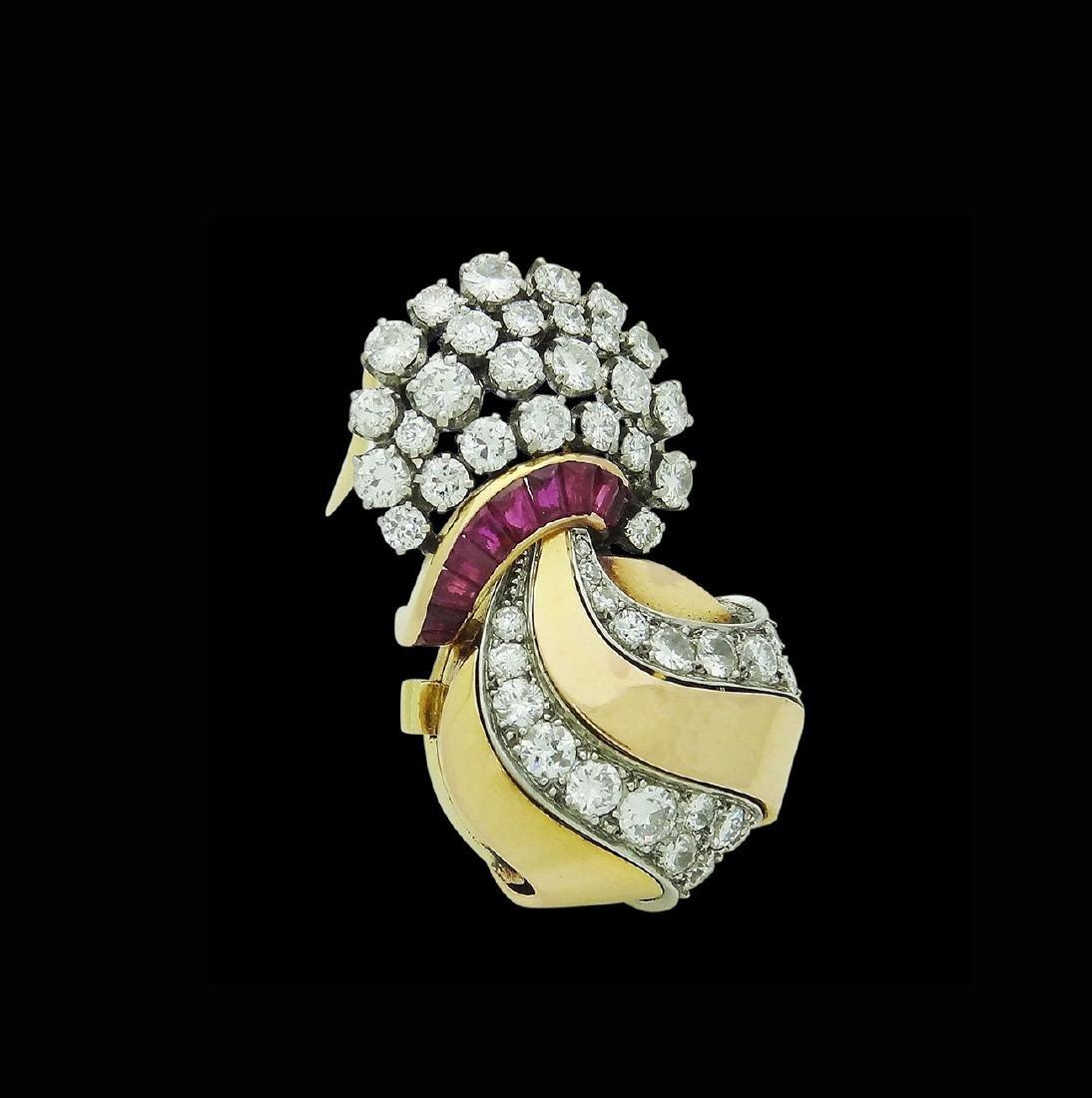 Estate Rare UTI 6.00 TCW Diamond & Ruby Brooch Pendant - 2