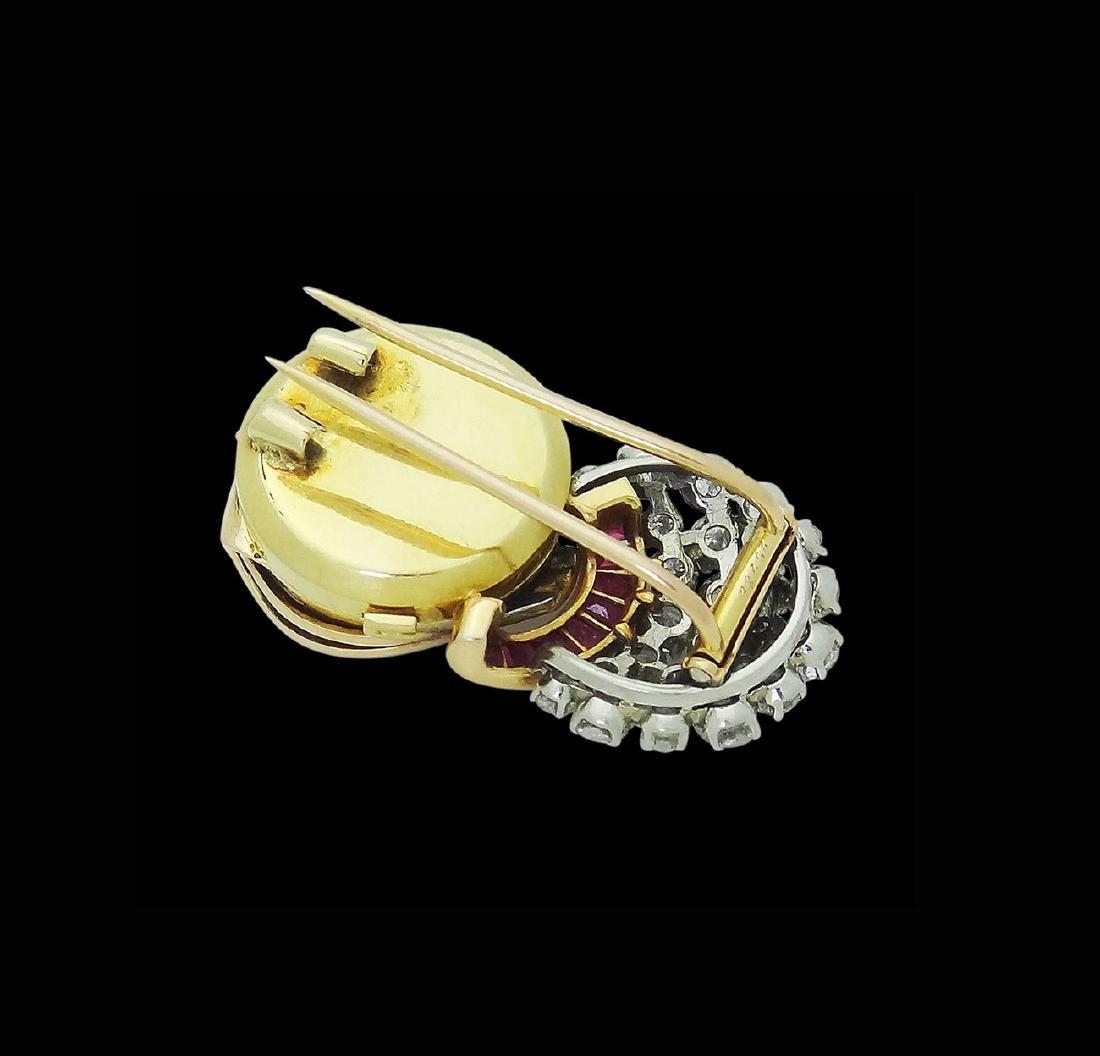 Estate Rare UTI 6.00 TCW Diamond & Ruby Brooch Pendant - 3