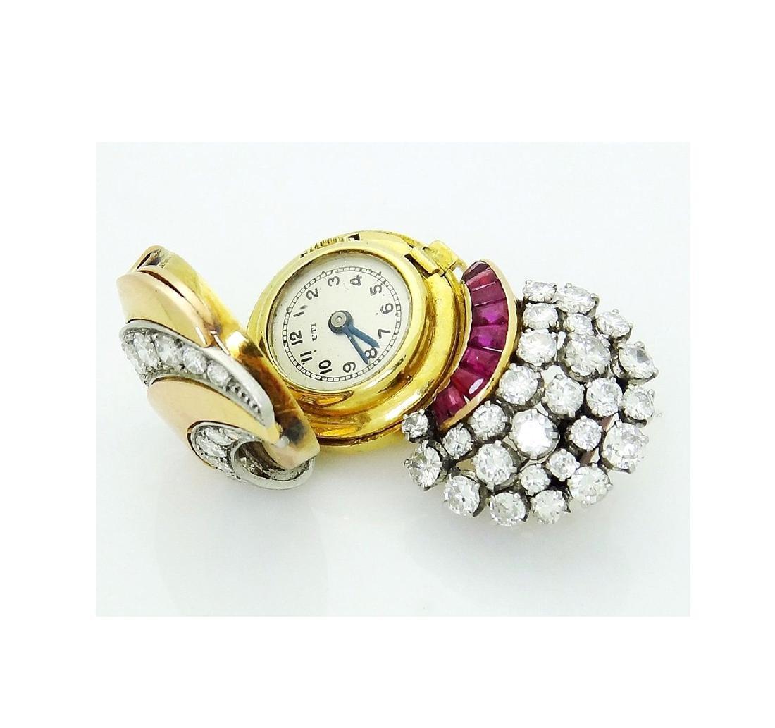 Estate Rare UTI 6.00 TCW Diamond & Ruby Brooch Pendant - 4