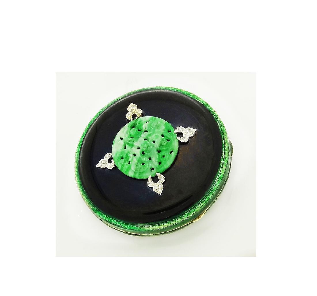 Tiffany & Co. Art Deco Jadiete Jade Dia & Enamel Makeup