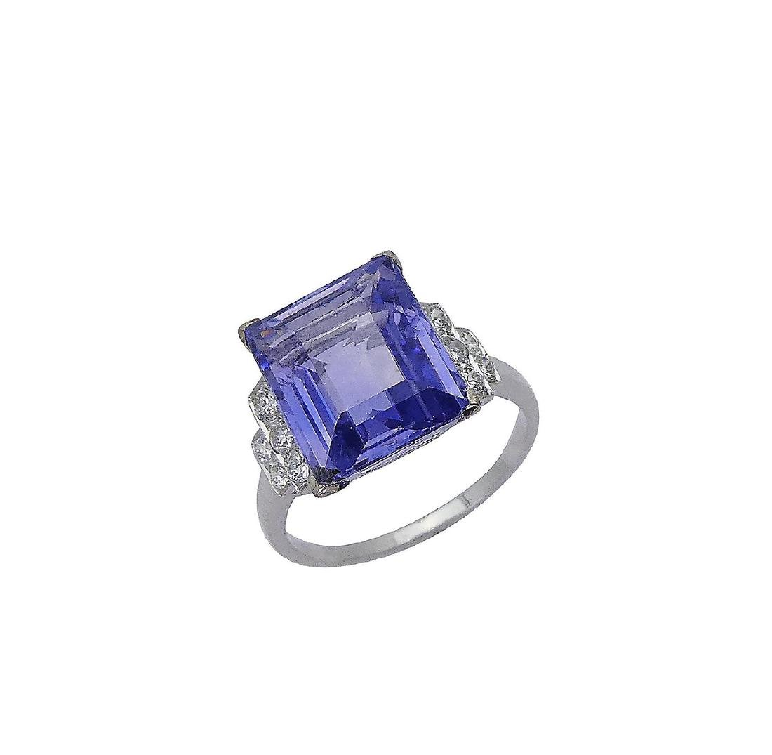 Designer Platinum Diamond & Sapphire Ring Size 6