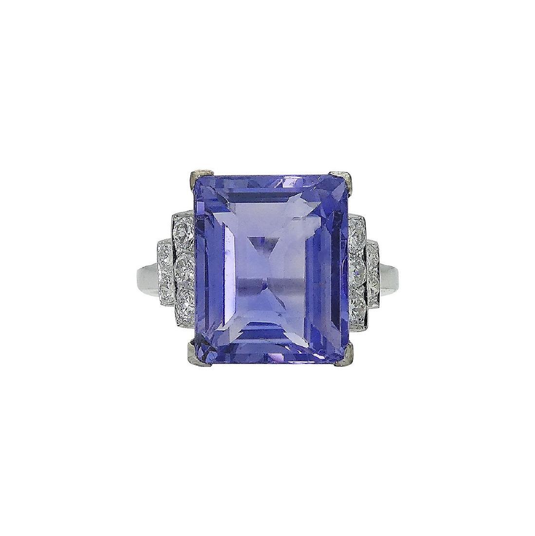 Designer Platinum Diamond & Sapphire Ring Size 6 - 2