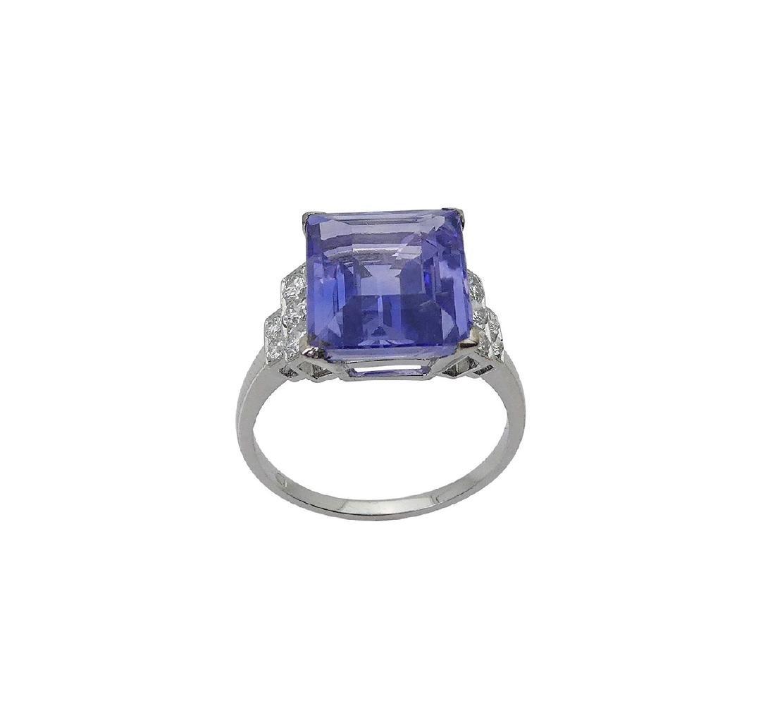Designer Platinum Diamond & Sapphire Ring Size 6 - 5