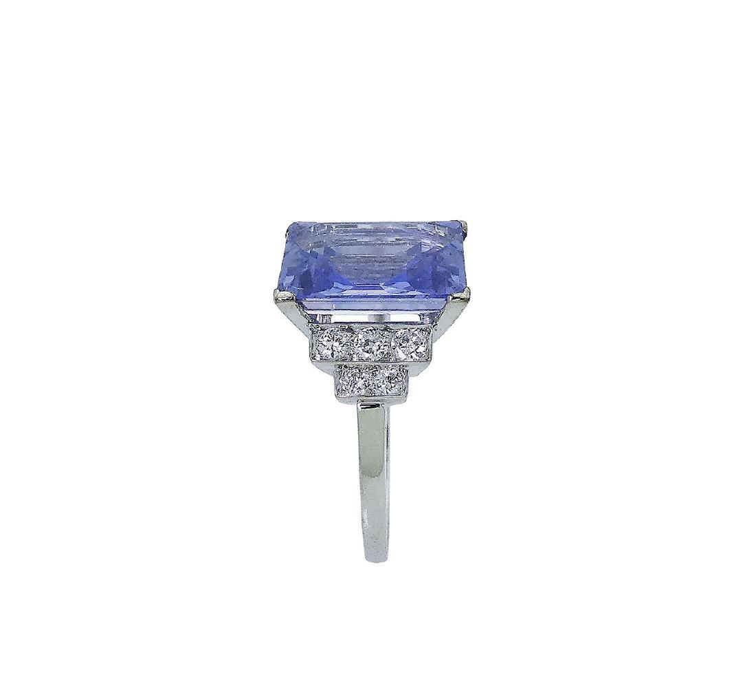 Designer Platinum Diamond & Sapphire Ring Size 6 - 6