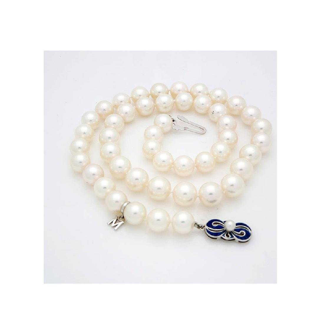 Mikimoto Pearl Necklace 18kGold & Blue Enamel Necklace - 2