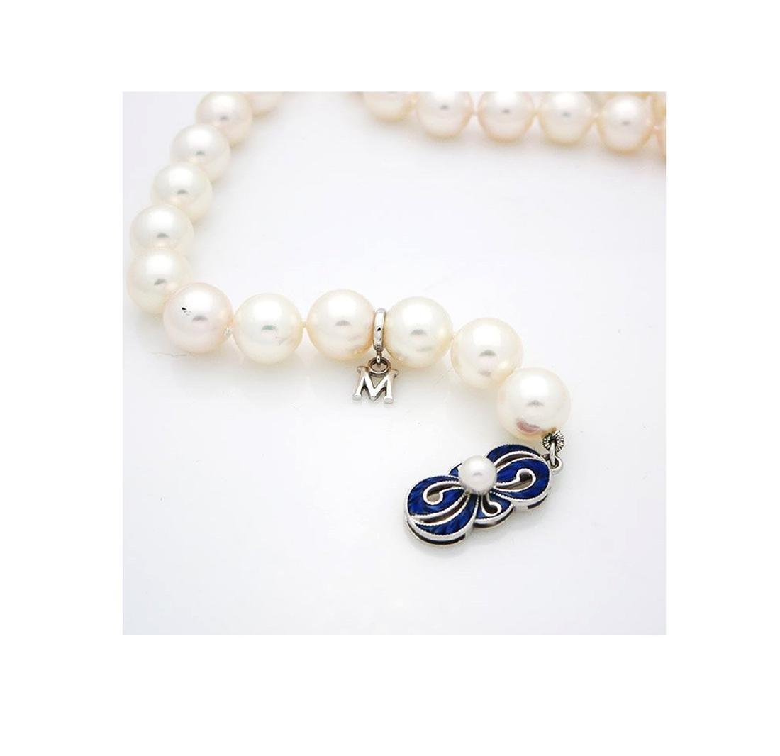 Mikimoto Pearl Necklace 18kGold & Blue Enamel Necklace - 4
