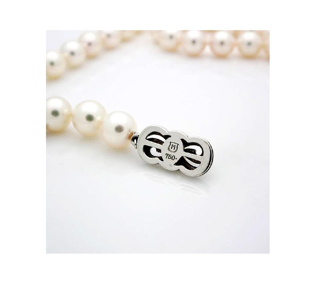 Mikimoto Pearl Necklace 18kGold & Blue Enamel Necklace - 5