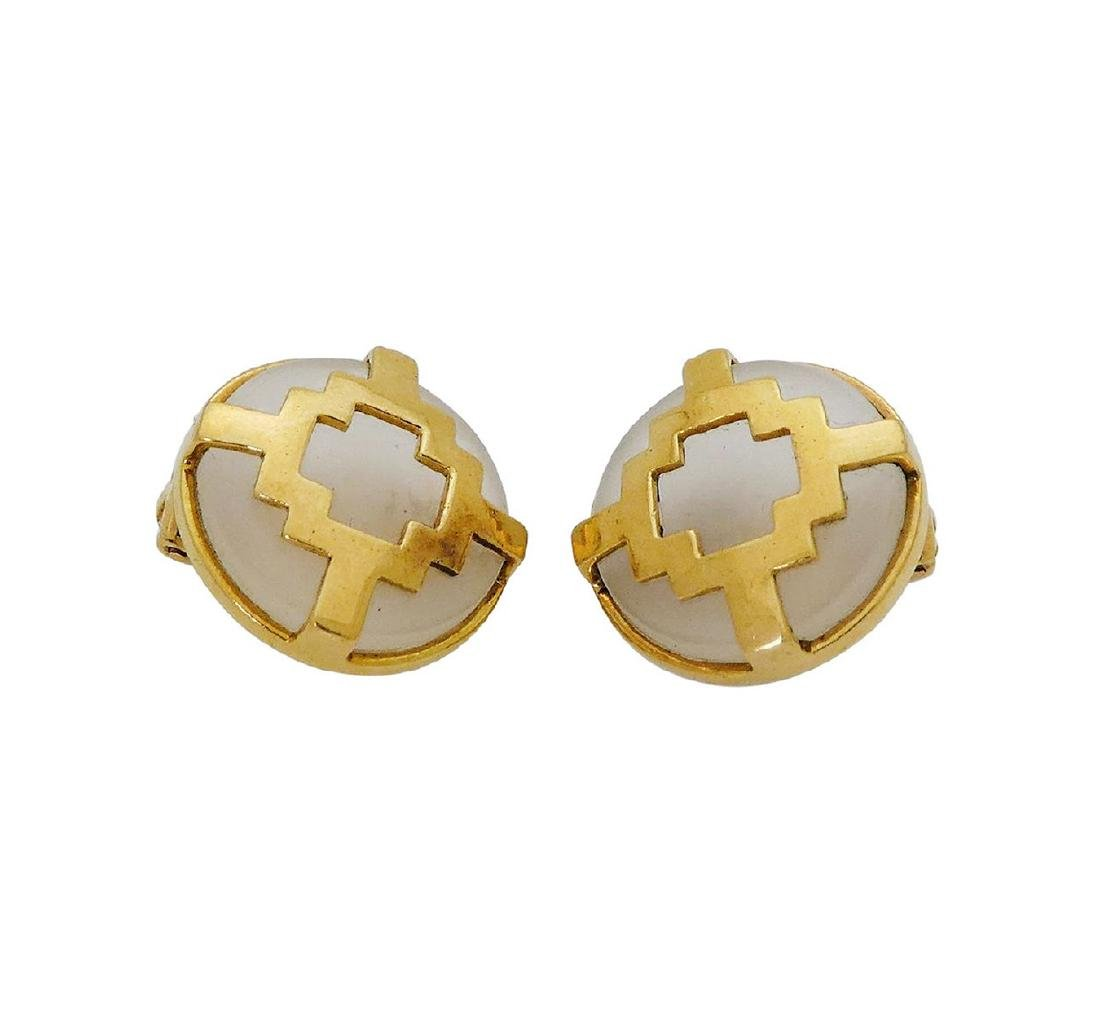 Lalaounis 18K Yellow Gold & Crystal Clip-on Earrings
